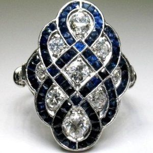 NEW Sapphire & Cubic Zirconia 925 SS Fashion Ring